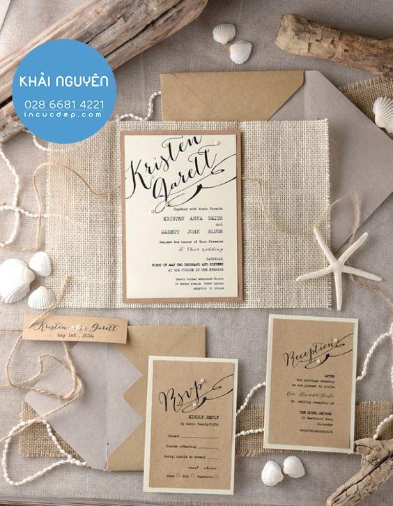 Làm thiệp sự kiện bằng giấy kraft & vải độc đáo