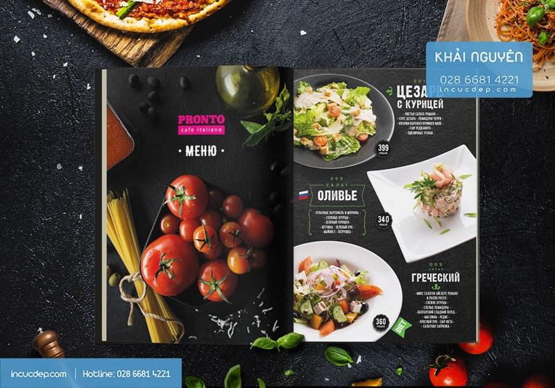 Áp dụng giá trị màu sắc vào thiết kế menu.