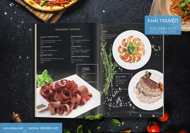Mẫu thiết kế in menu nhà hàng Nga - Phần món chính
