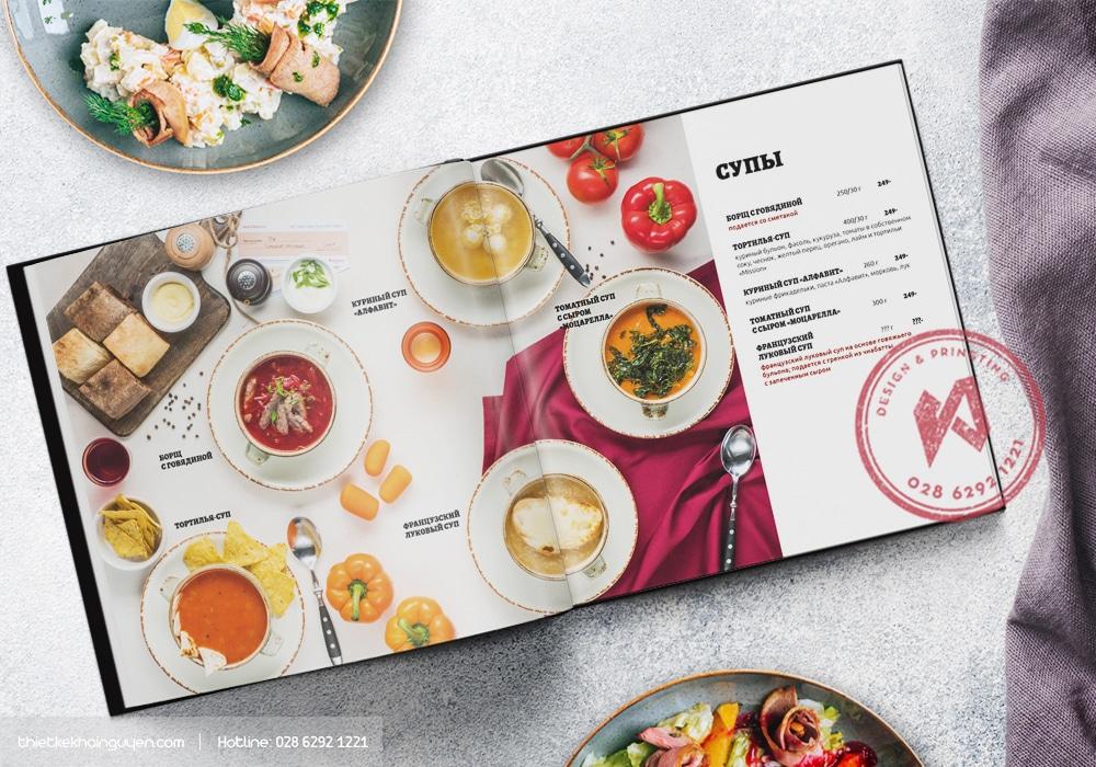 Mẫu thiết kế menu nhựa mỏng