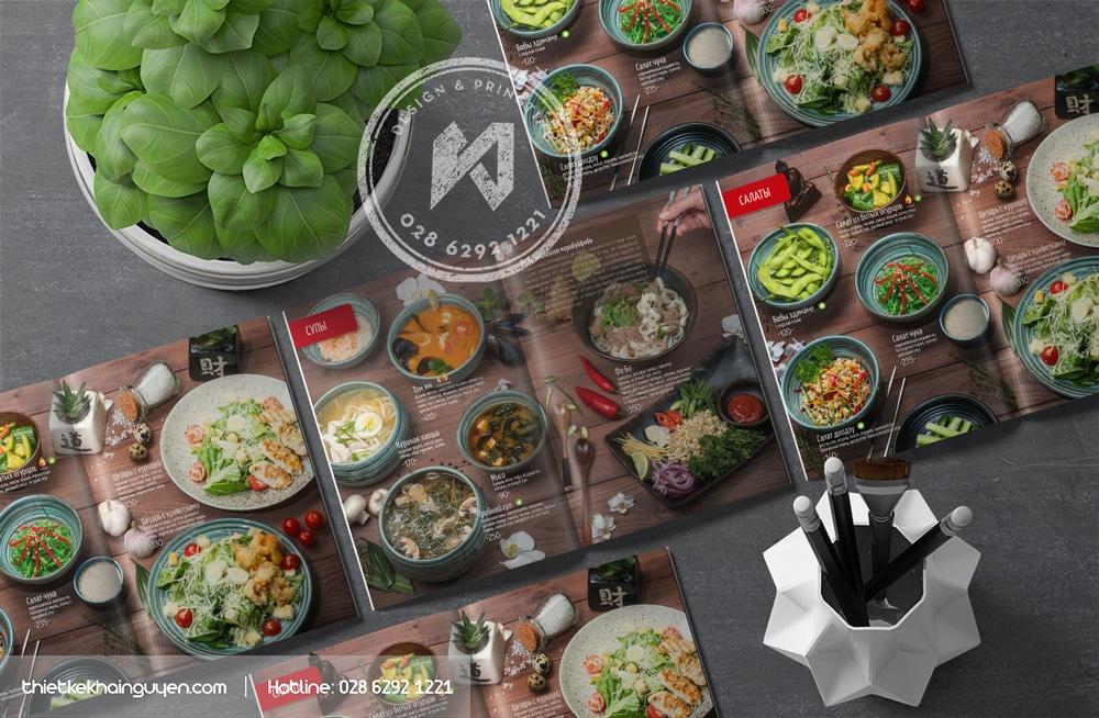 Mẫu thiết kế và in menu nhà hàng Âu sang trọng đầy khí chất