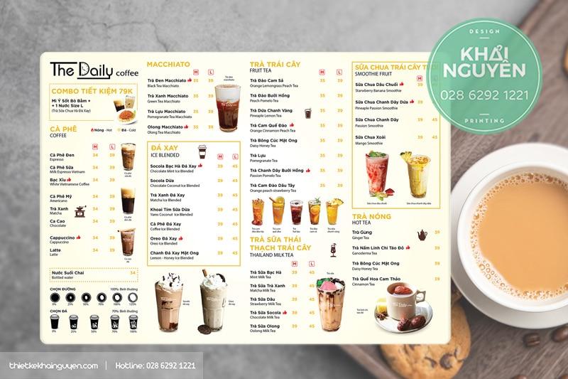 Thiết kế menu đẹp cho quán cà phê trà sữa