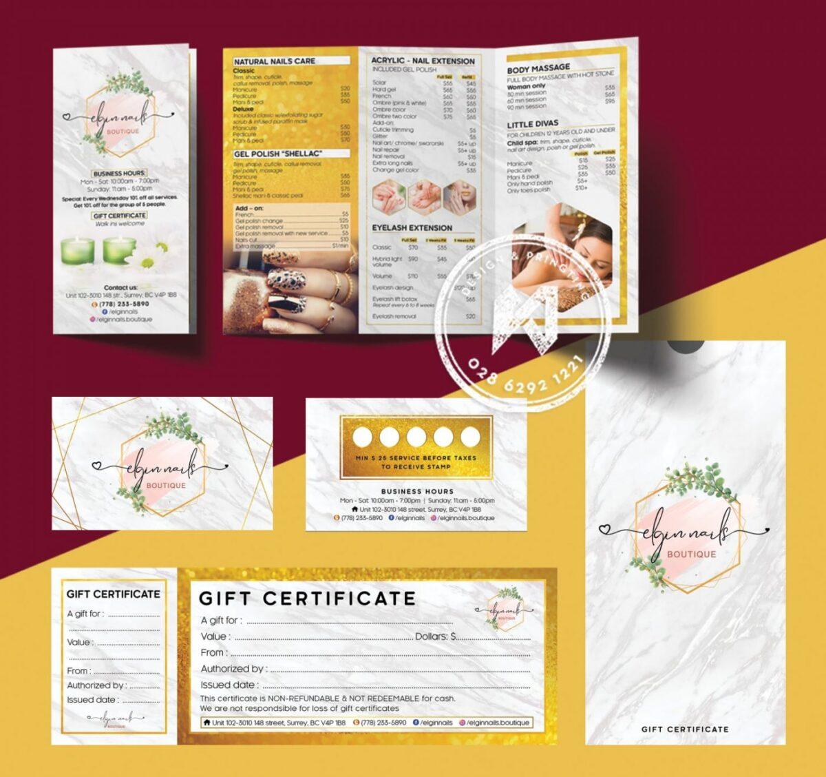 Gift voucher là sản phẩm cần thiết trong bộ nhận diện thương hiệu SPA