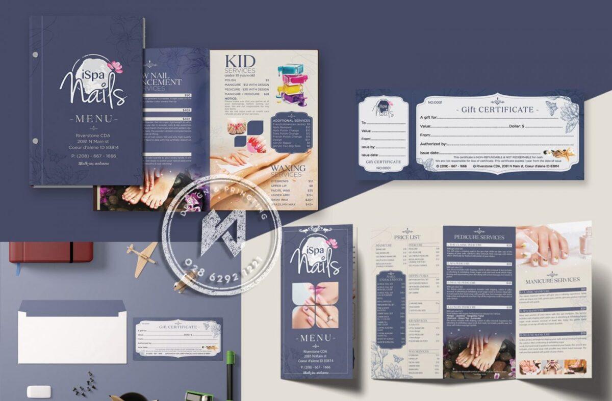 Mẫu menu Spa & Nail đẹp rất quan trọng cho cả bộ nhận diện thương hiệu