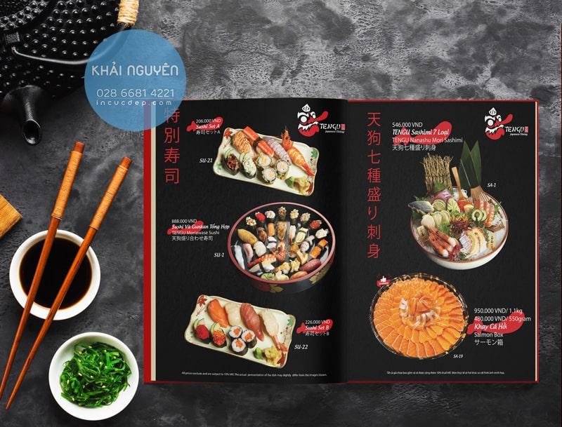 Thiết kế thực đơn nhà hàng Nhật Tengu