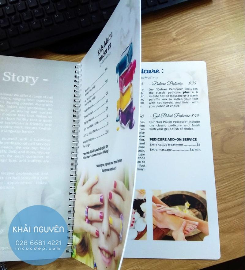 Nail Story - Mẫu in menu bằng nhựa cao cấp cho Nails Spa
