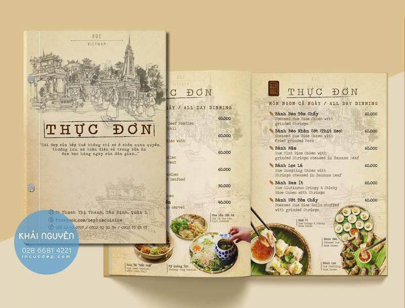 In menu nhà hàng Việt thuần túy