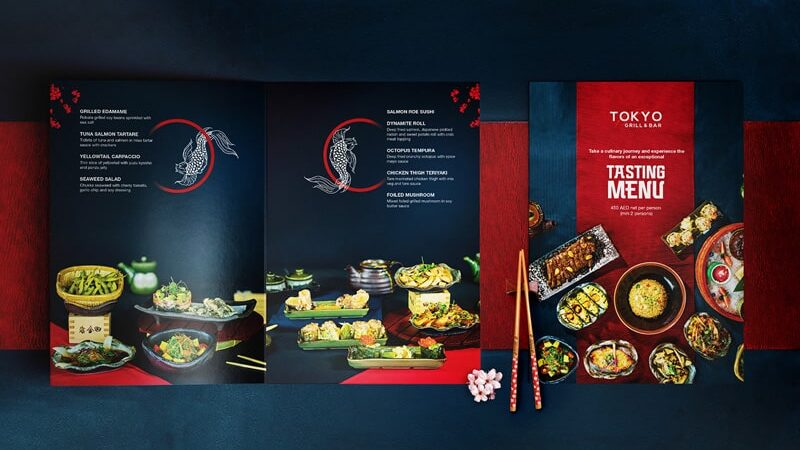 In menu nhà hàng Nhật Bản chuyên nghiệp