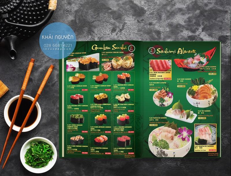 Mẫu thiết kế menu nhà hàng Nhật Bản