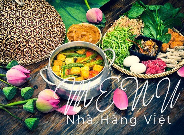 In menu nhà hàng Việt Nam