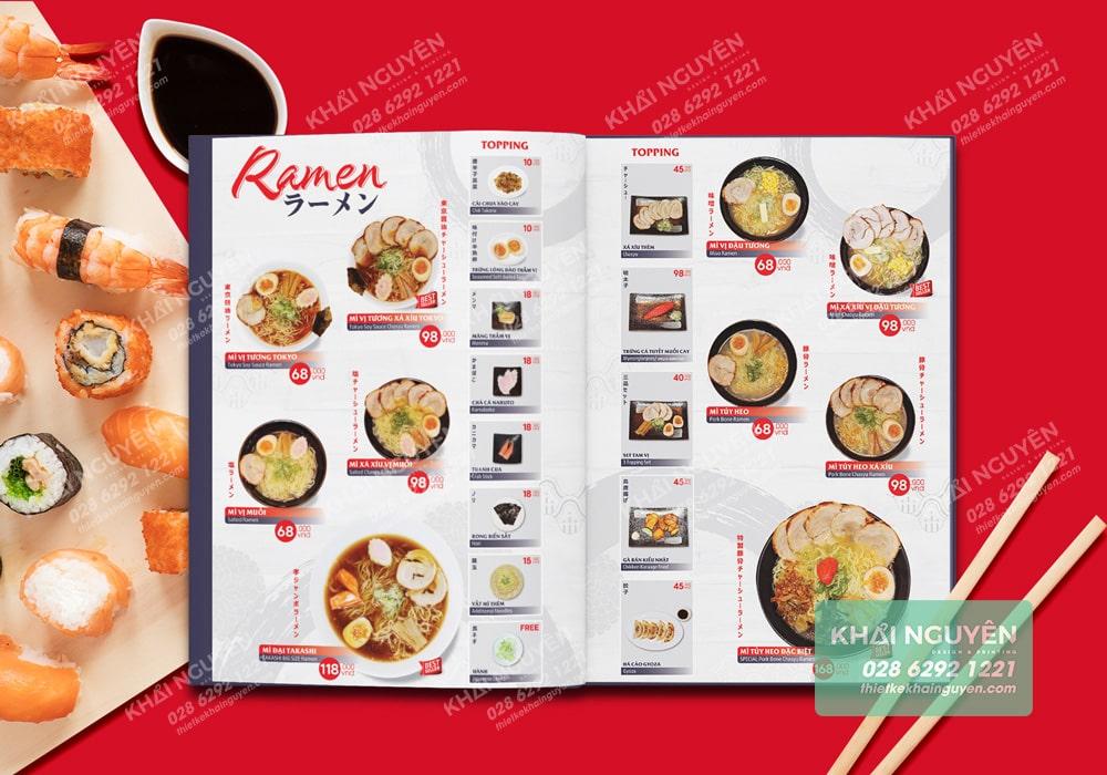 Takashi Remen Menu - In menu nhà hàng Nhật khoa học