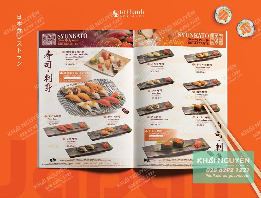 Báo giá in menu cho nhà hàng Nhật Bản