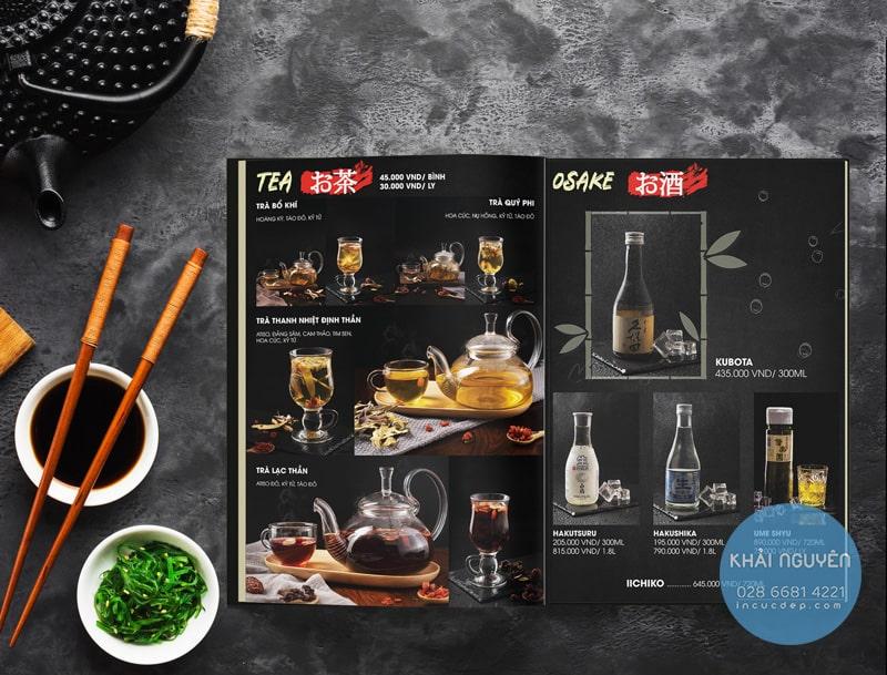 Phần rượu trong thiết kế menu nhà hàng Nhật