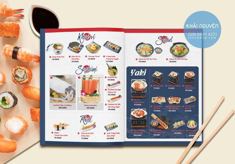 Mẫu in menu cho nhà hàng Nhật Bản