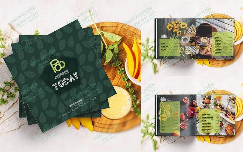 Mẫu thiết kế & in menu cà phê khổ vuông mới lạ