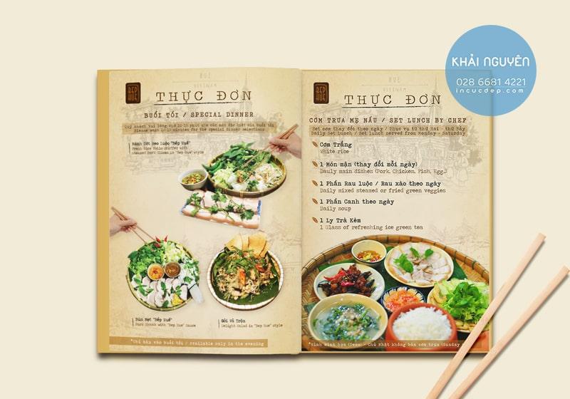 Thiết kế thực đơn nhà hàng Việt sang trọng