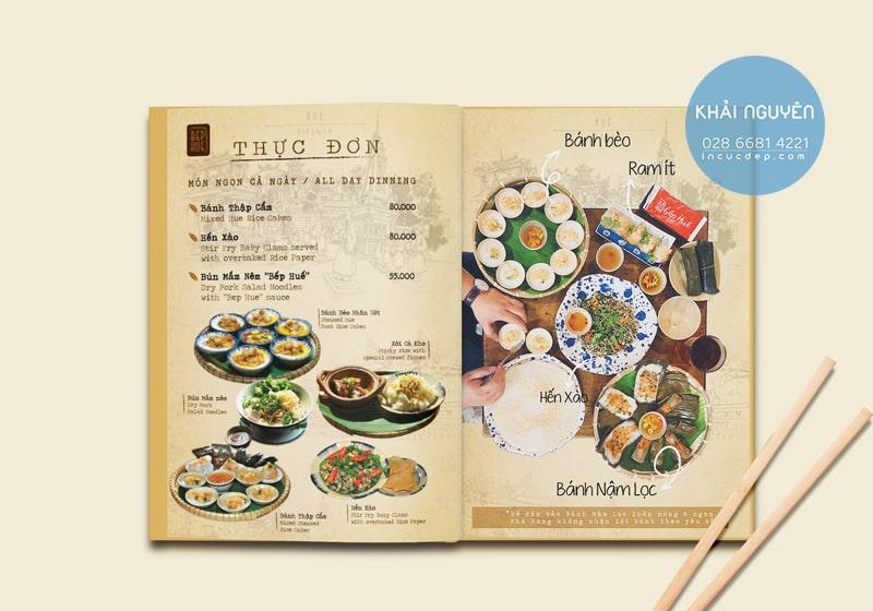 In thực đơn menu nhà hàng Việt