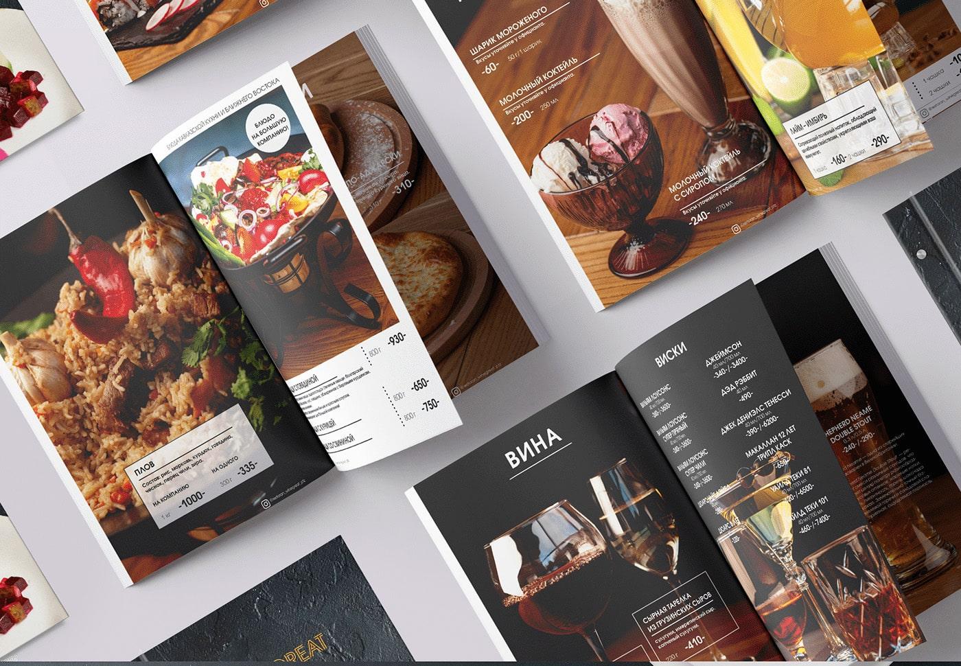Drink menu trong menu nhà hàng Âu