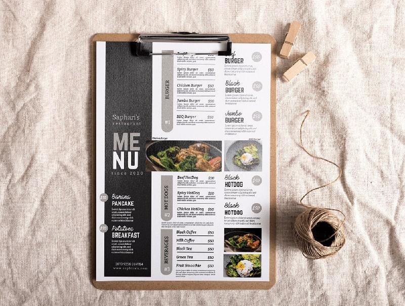 Mẫu thiết kế menu đơn giản cho nhà hàng