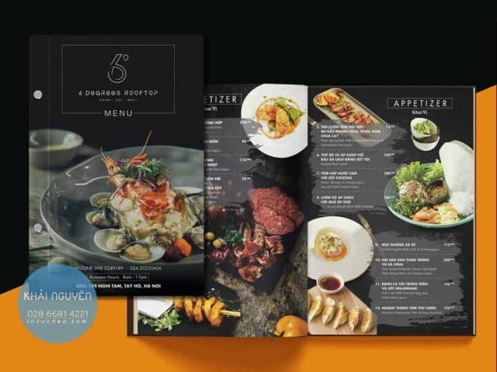 Mẫu thiết kế in menu nhà hàng Âu RoofTop