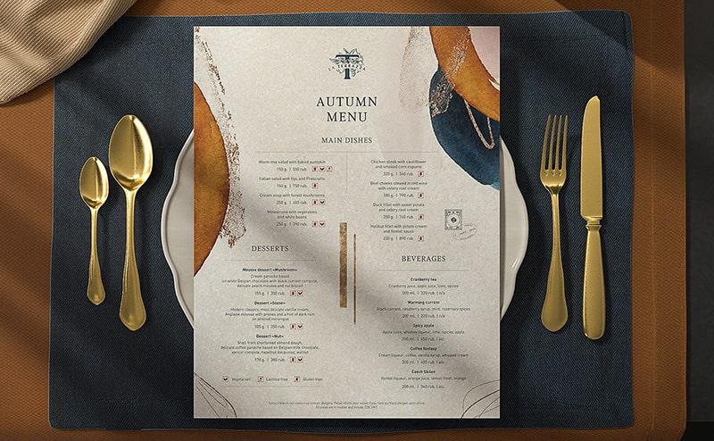 Thiết kế menu kiểu âu sang trọng theo hướng đơn giản