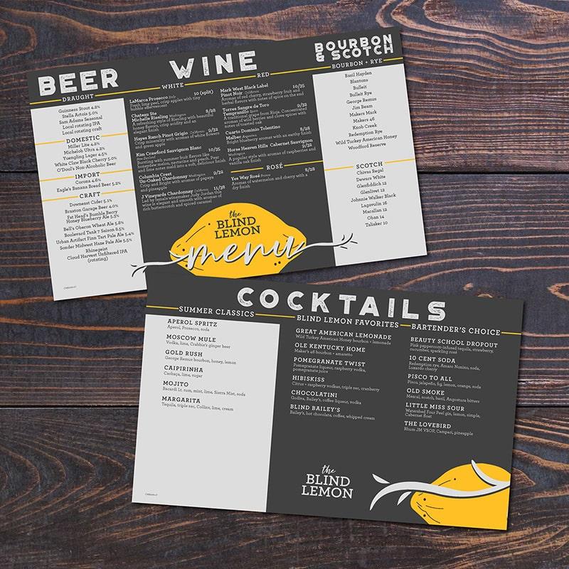 Wine menu A3 để tại bàn
