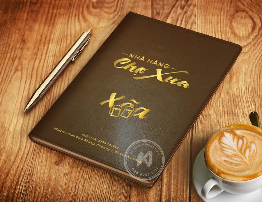 Bìa menu da nhà hàng Chợ Xưa