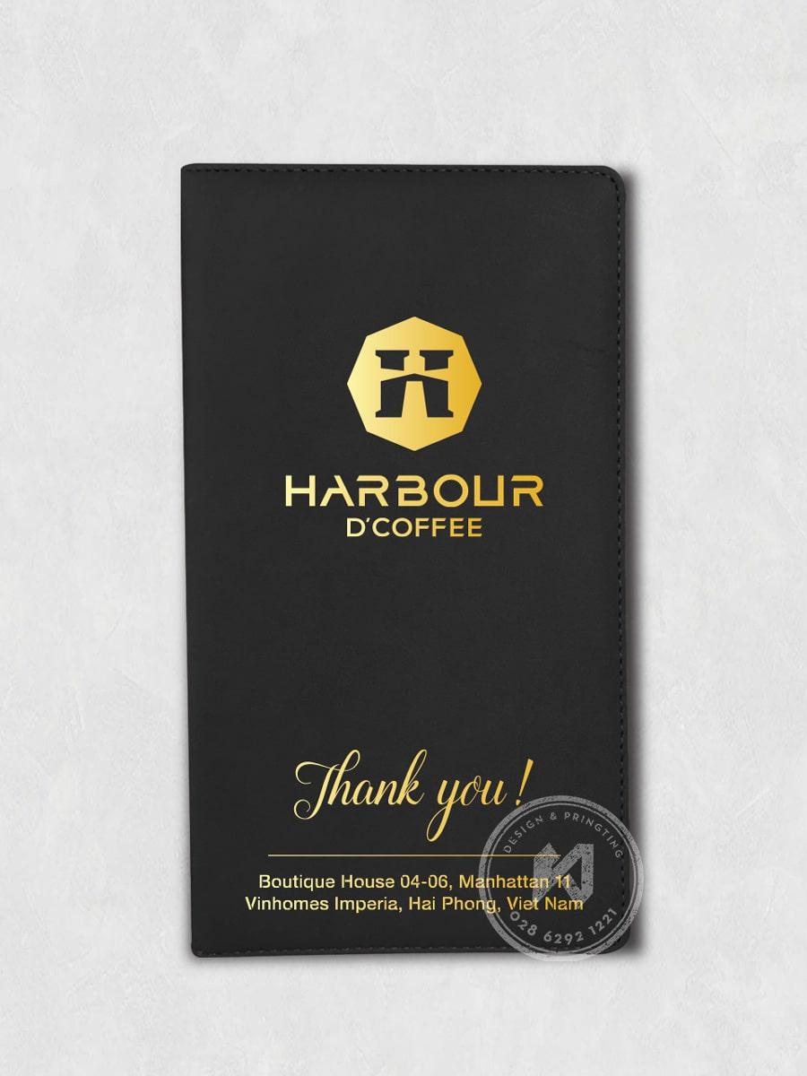 Mockup bìa menu da ép kim Harbour Coffee