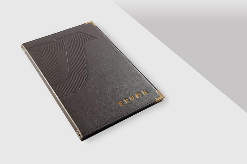 In menu da dập chìm + ép kim logo