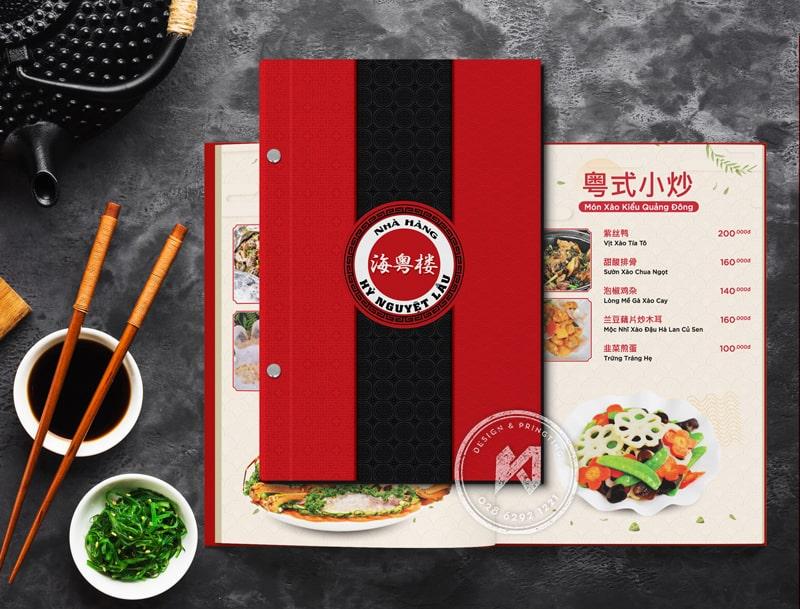 Menu bìa cứng nhà hàng Hoa tại Việt Nam