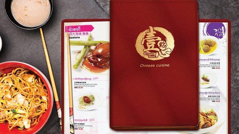 Menu bìa da nhà hàng Trung Hoa