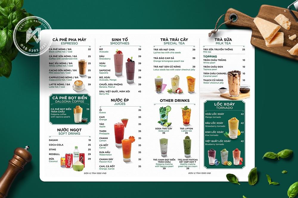 Ben Coffee - mẫu thiết kế menu coffee