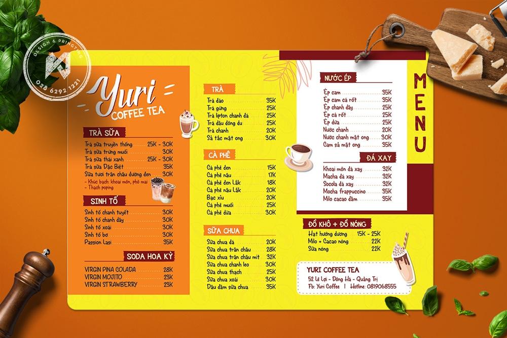 Juri Menu - Thiết kế menu màu vàng tươi