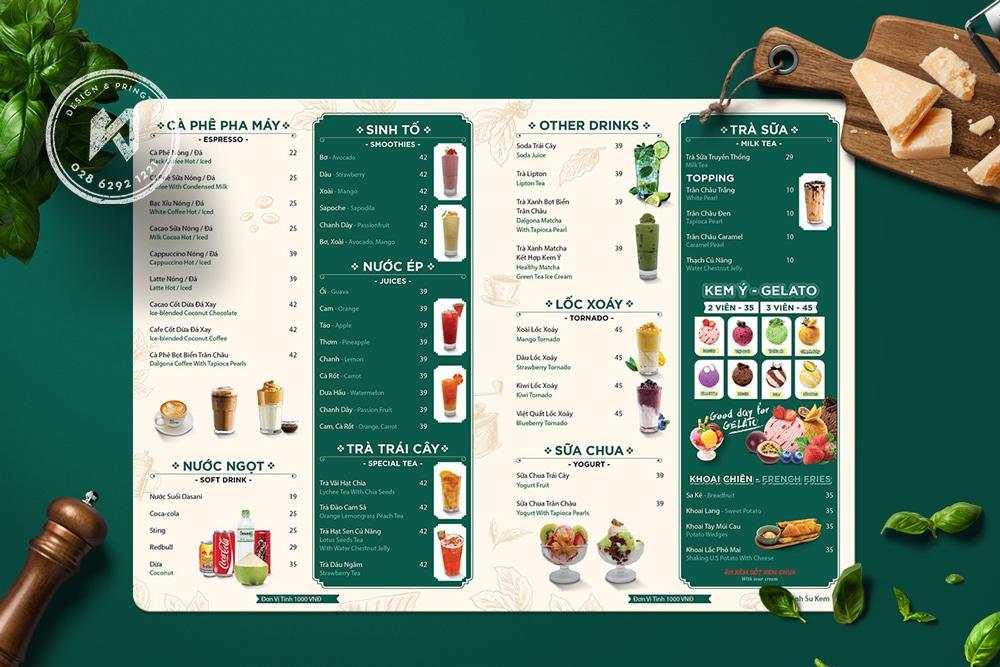 Thiết kế menu cà phê pha máy