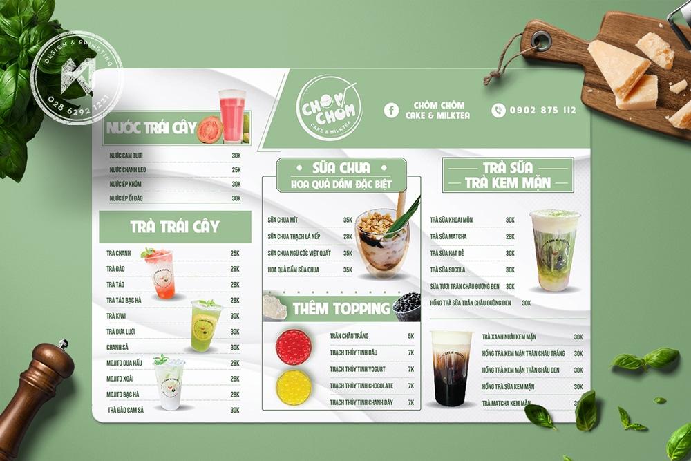 Thiết kế menu cà phê xanh lá tự nhiên