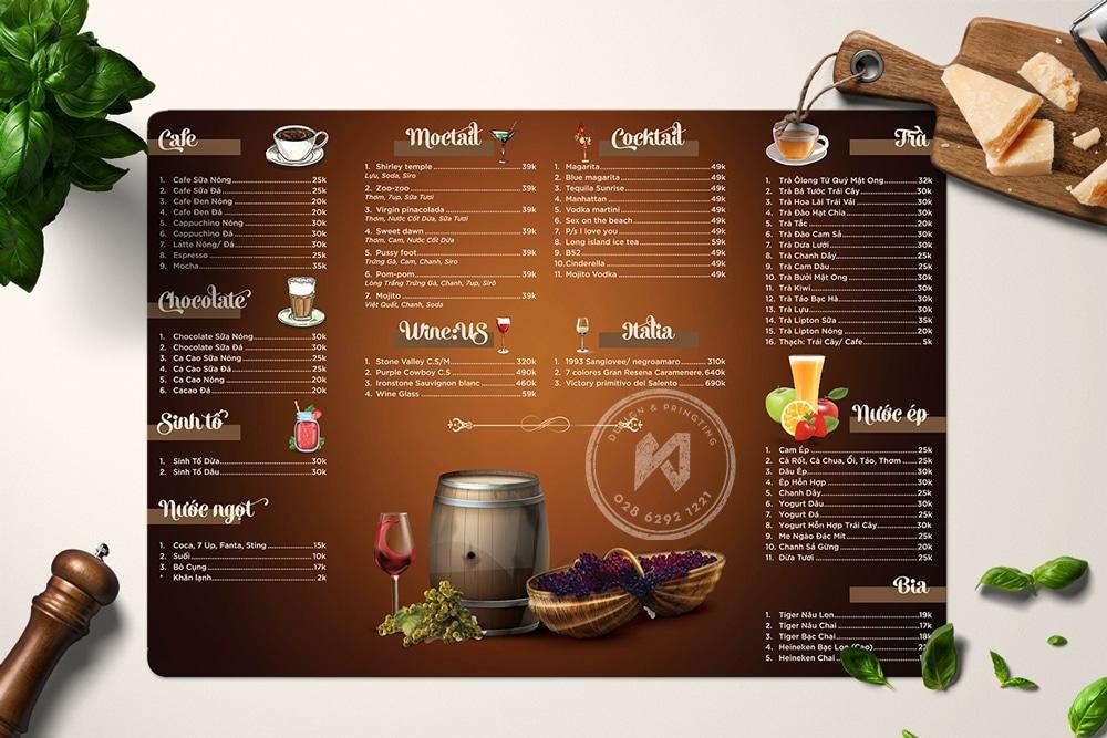 Thiết kế menu cà phê rờm