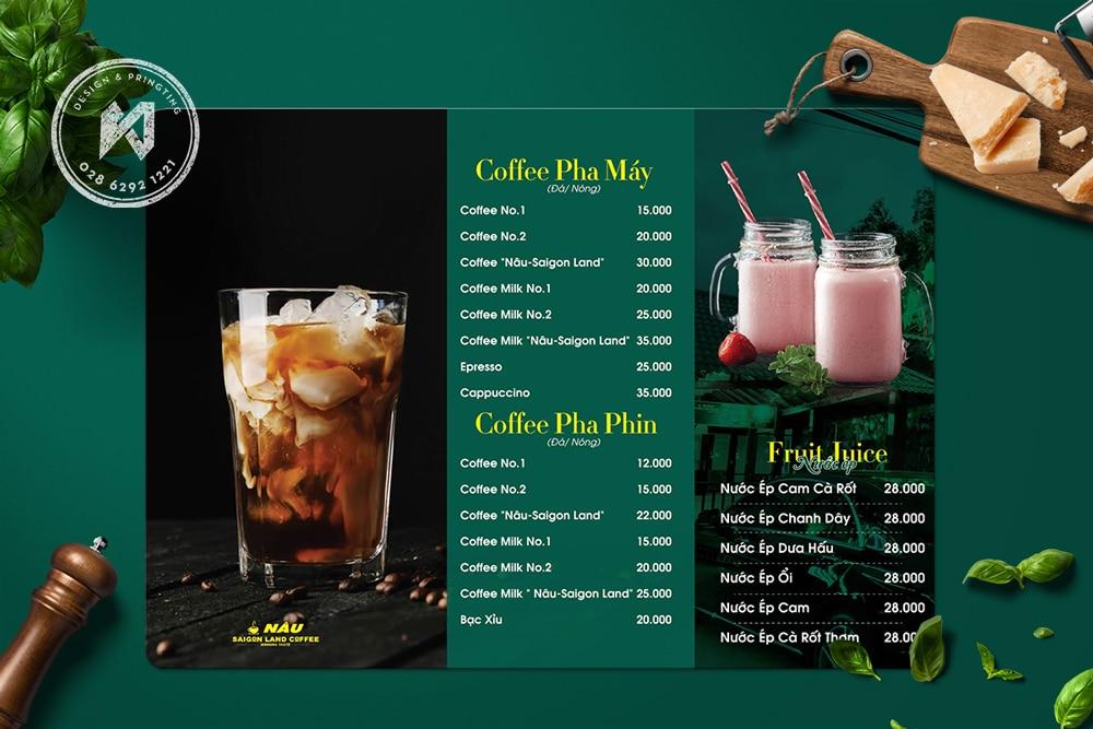 Mẫu thiết kế menu cà phê