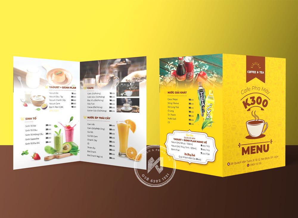 K300 Menu - Thiết kế menu quán cà phê gấp đôi