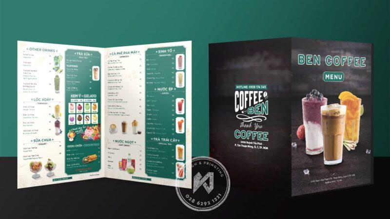 Menu coffee, menu cà phê gấp đôi